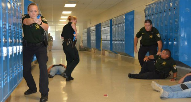 An example of an active shooter drill held by Escambia County Sheriff's Office at a middle school in Florida. (Via Escambia Couny Sheriff's Office Facebook)