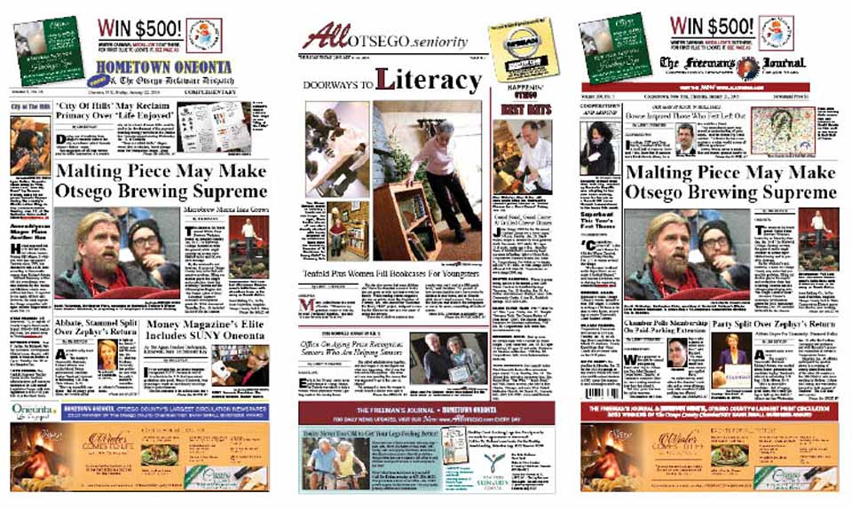 The Winter Brewery Weekend hosted by Hartwick College Jan. 16-17 showed the county is preparing to provide another essential microbrewery ingredient: malted barley. Details in this week's newspapers, along with former Oneonta Mayor Kim Muller's observations from the scene of Governor Cuomo's State of the State speech.