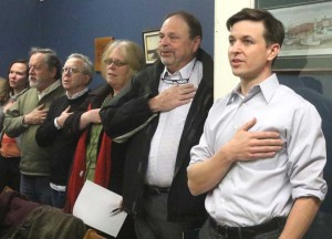 Will Yandik, right, recites the Pledge of Allegiance as the committee meeting began. Next to him are Bill Elsey, Springfield; Carol Malz, Oneonta; Tim Gibson, Oneonta, and Barbara Monroe, Hartwick.