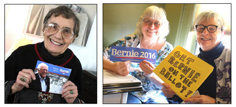With Bernie Sanders' stunning sweep of Hillary Clinton in New Hampshire, suddenly is matters that he is the only presidential candidate with grassroots organizations in Otsego County. Hilda Wilcox, left, is leading the effort in Cooperstown; Wendy Carrington and Karen Anderson, right, in Oneonta. (Ian Austin/AllOTSEGO.com)