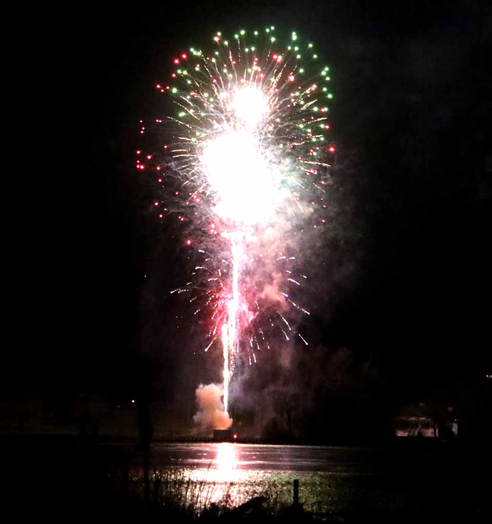 The grand finale of the 15th annual Carnival Fireworks lit up the dark night a few minutes ago. Shot from the Leatherstocking Golf Course, Otsego Lake captured its reflection. The officials elected countywide, Clerk Kathy Sinnott-Gardner, D.A. John Muehl, Treasurer Dan Crowell and Sheriff Richard J. Devlin Jr. personally contributed funds to make the event happen. (Jim Kevlin/AllOTSEGO.com)