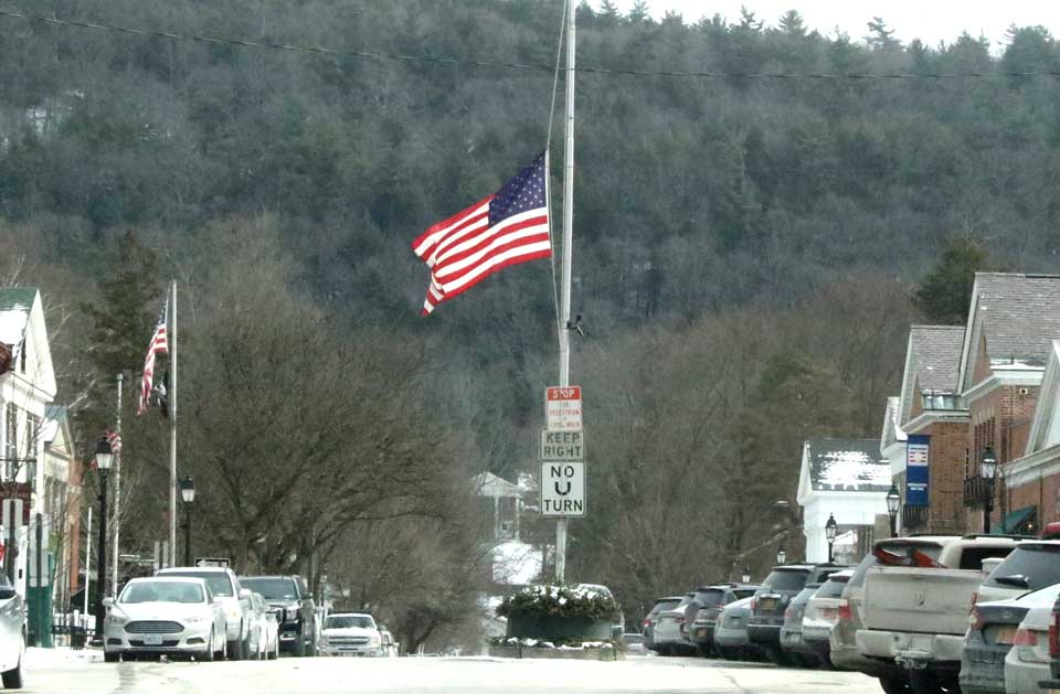 On orders of President Obama, flags are at half-staff today – at Main and Pioneer in Cooperstown and throughout the nation – to mark the passing of Supreme Court Justice Antonin Scalia.  (Jim Kevlin/AllOTSEGO.com)