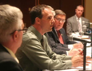 Senator Seward, second from right, listens to Justin Thalheimer, the Otsego County Chemical Dependency programs manager, at the Joint Task Force's first local hearing in April 2014.  (AllOTSEGO.com file photo)