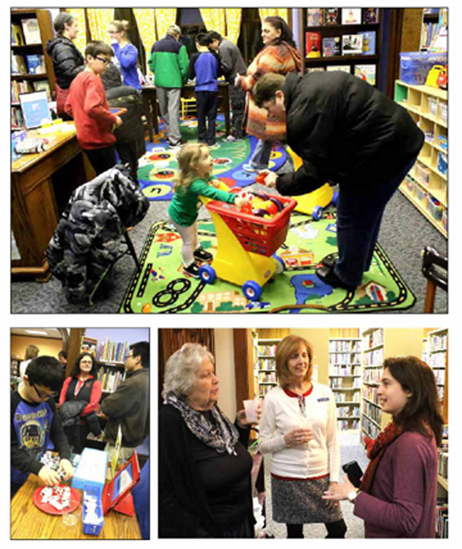 The sound of excited young voices reverberated through Oneonta's Huntington Memorial Library last evening at an open house to celebrate the opening of the new children's room. Youngsters tried their hand as Spero, littleBits, Moss Robot and other learning toys. In top photo, Jennifer Sorensen chats with a busy, busy Charlotte Wiltsey, 2. At left, Tyler Sorensen tries out one of the new offerings as dad Aaron, in background, discusses the new facility with Karen Laing. At right, Library Director Tina Winstead discusses the new facility with Karyl Sage, left, and Rachel Ashara. Rachel, raised in Oneonta (and now living in North Andover, Mass., with her husband and two children) recalled her happy experiences at the library when she was growing up. Home visiting family, she brought son Devan to the open house. (Jim Kevlin/AllOTSEGO.com)