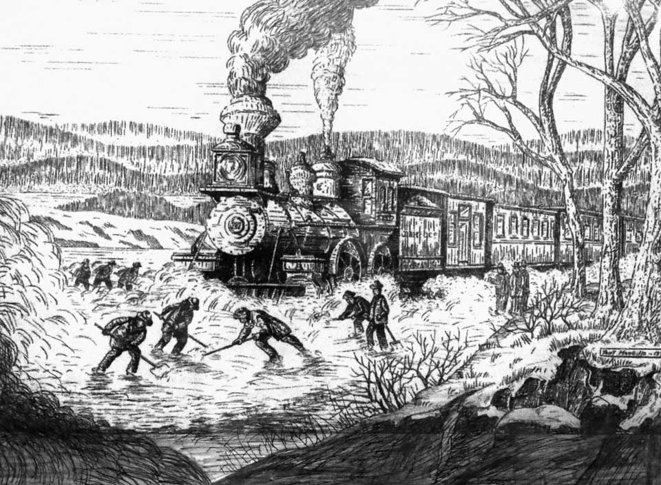 "A new pen-and-ink – this unusual image of crews digging out the track for a D&H engine – is now hanging in ""Tony Mongillo's Oneonta,"" an exhibit at the Oneonta History Center, 183 Main St.  Bob Brzozowski, Greater Oneonta Historical Society executive director, said City Clerk Nancy Powell discovered the unusual piece in a file in City Hall, and sent it over to be added to the exhibit.  The History Center is open noon-3 Fridays and 10-4 Saturdays."
