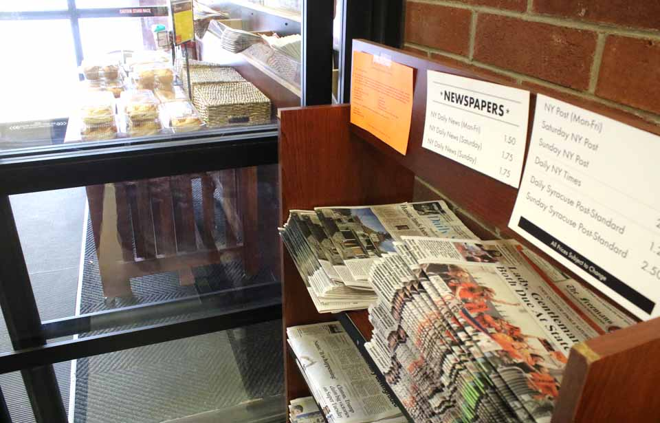 Watch for your Freeman's Journal right by the door as you enter Cooperstown's Price Chopper, our largest single-copy outlet iin the village.  The newspaper rack has been moved to this convenient spot so you can simply reach for the newspaper first thing as you do your grocery shopping.  (AllOTSEGO.com photo)