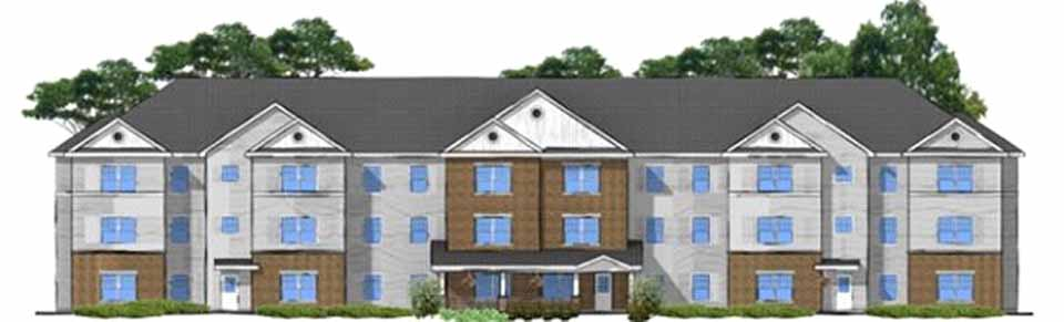The artist's rendering shows 40 units of senior-citizen housing planned in Oneonta's Silver Creek section.