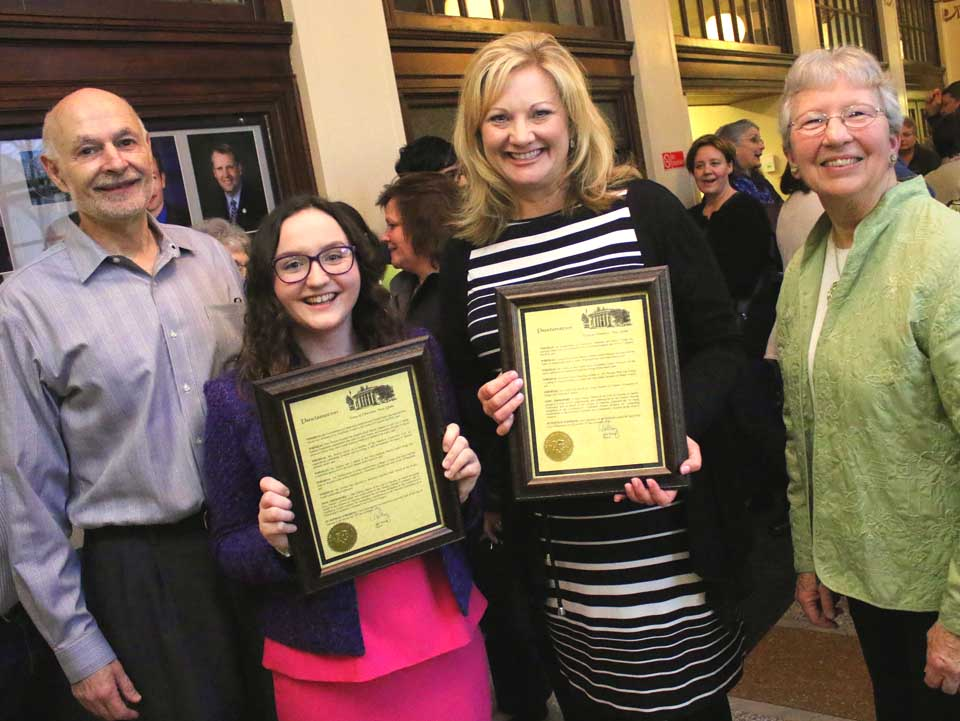Mayor Gary Herzig, right, and City Chair of Community Relations and Commission of Human Rights Joyce Miller, left, stand with the 2016 Trailblazer winners Rory Decker and Coleen Lewis, who were honored this evening at a ceremony at City Hall. Runners up Claire Garfield, Maureen Henessey, Martha Mezner and Carla Palmer were also recognized.