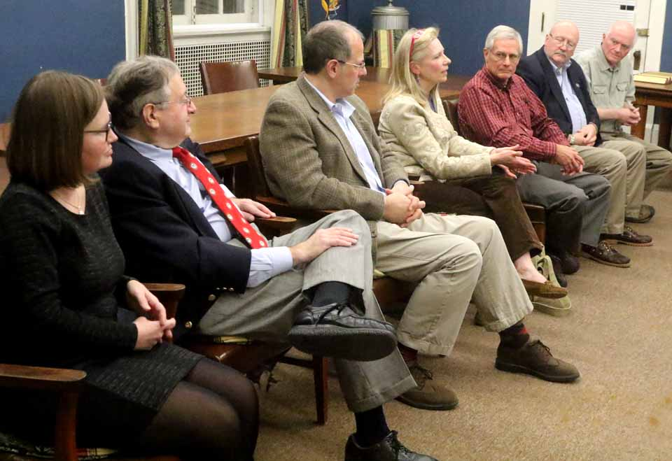 With no contested races in tomorrow's Cooperstown village elections, the whole Village Board answered questions at a League of Women Voters' this evening at 22 Main. From left are Trustees Cindy Falk and Richard Sternberg, Mayor Jeff Katz, Trustees Ellen Tillapaugh Kuch, Lou Allstadt, Bruce Maxson and Jim Dean. Katz, Maxson and Sternberg will be on the ballot Tuesday, when polls are open noon-7 p.m. at the fire hall. (Jim Kevlin/AllOTSEGO.com)