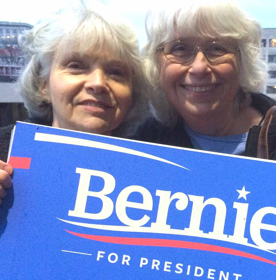 Barbara Sperling, left, and Wendy Harrington of Oneonta wait in line at 6:30 a.m. today to hear Bernie at 10 in Binghamton this morning!