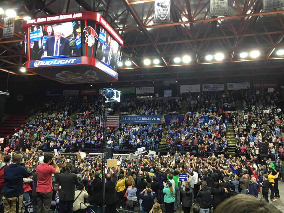 Democratic Presidential hopeful Bernie Sanders addresses a crowd estimated at 5,000 at the Veterans Memorial Arena in Binghamton this morning. Kerri Tandle of Oneonta sent this image along. If you attend a presidential rally leading up to the New York State primary on Tuesday, April 19, please send photos to info@allotsego.com