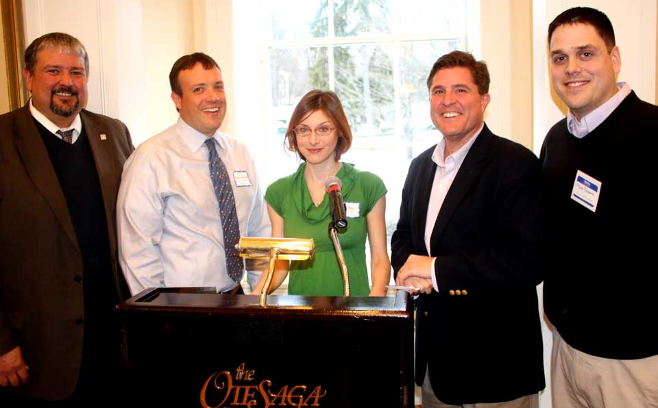 Danielle Henrici, NYSHA director of education, was elected president of the Cooperstown Chamber of Commerce board at the annual membership meeting. She is flanked by vice president Matt Schuermann, right, principal, Mohican Financial, and treasurer Andrew Marietta, NYCON regional director and a county board member. At left is outgoing president Ken Meifert, Hall of Fame vice president; at right, executive director Matt Hazzard.    Not shown is Stacey Grady, Springbrook, secretary.  (Jim Kevlin/AllOTSEGO.com)