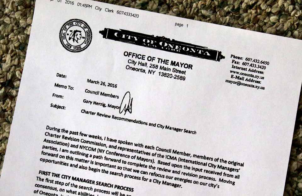 Mayor Herzig's March 26 memo to Common Council sets the stage for further discussion of the future of the City Charter and the city manager form of government. (AllOTSEGO.com)