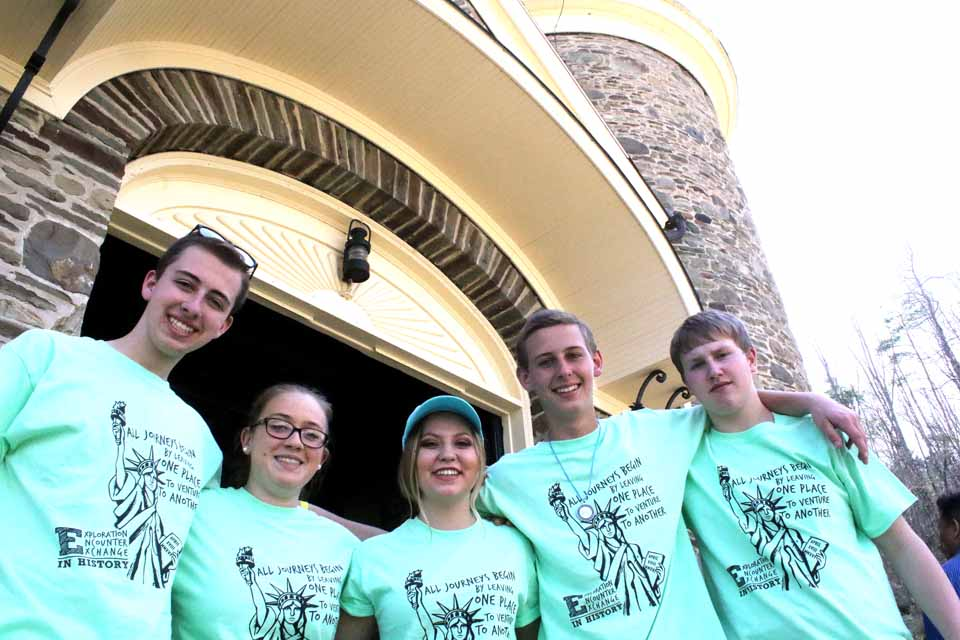 This five-some from Livonia Central School – from left, Patrick Mayo, Pikayla Fletcher, Zena Wronka, Aidan Sauter and Alex Flanagan – were among hundreds of high school students from around the state at the NYSHA museums in Cooperstown today to compete in the annual New York State History Day. At right, Kyrstin Edwards, left, and Jilianna Battaglia, both of Livingston Central, cool off with a frozen drink in front of The Farmers' Museum Louis C. Jones Center. (Jim Kevlin/AllOTSEGO.com)