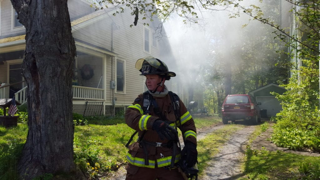 The Oneonta Fire Department on the scene at a house fire on Forest Avenue. (Ian Austin/AllOTSEGO.com)