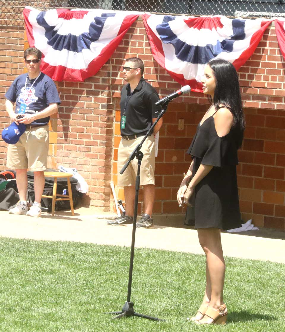 Oneonta native Alexandra Fassler returned from Broadway to her native county to sing the National Anthem opening today's eight annual Hall of Fame Classic. The event, successor to the Hall of Fame Game, pits players from the National League against the American League. All 30 MLB teams are represented today. The teams are being manager by Hall of Famers Dawson, Rollie Fingers, Fergie Jenkins, Phil Niekro, Jim Rice and Ryne Sandberg (Jim Kevlin/AllOTSEGO.com)