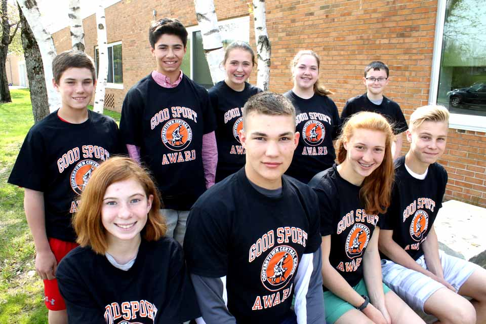 CCS Principal Mike Cring today announced his Good Sportsmanship Award winners for the spring term. Front row, from left, are Jade Brotherton, girls modified track; Owen Kennedy, varsity boys track; Mary Kennedy (Owen's sister), girls varsity track, and Ted Mebust, golf. Second row, from left, Chris Ubner, modified baseball; Jesse Furnari, JV baseball; Rebecca Marmorato, modified softball; Amanda Snyder, JV softball, Thomas Dygart, modified boys track. Winners not in the photo are Kate Trosset, tennis; Chad Carr, varsity baseball, and Kaitlin Palmatier, varsity baseball. (Jim Kevlin/AllOTSEGO.com)