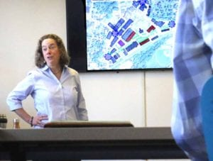 """Elan Planning principal Lisa Nagle outlines the """"triangle"""" target area, bounded by Main, South Main and Market streets."""