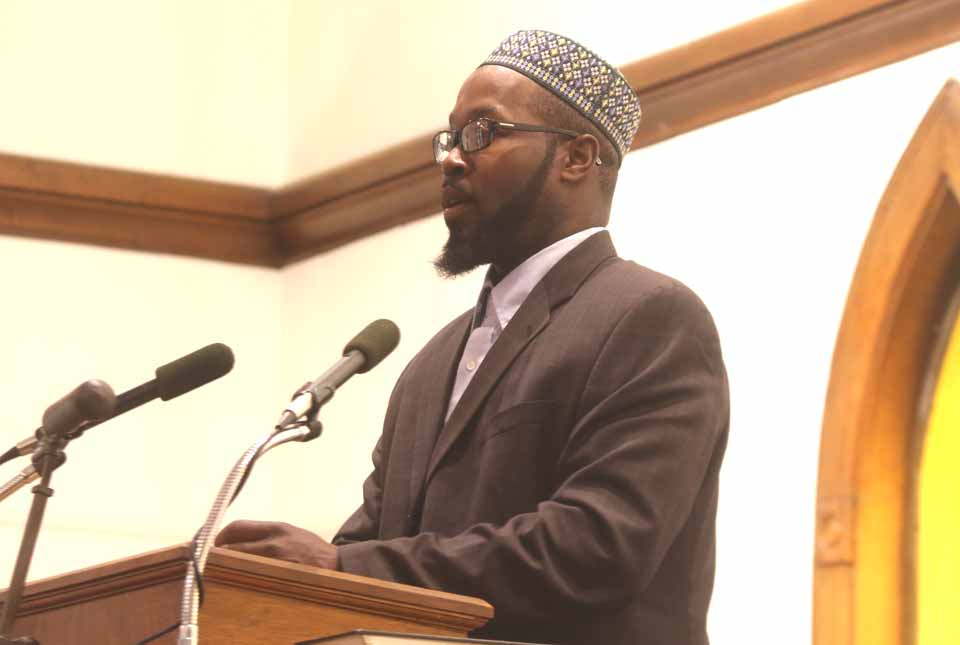 Islamberg Mayor Rashid Clark briefs an NAACP rally last Sunday in Oneonta on possible threats against his Delaware County Sunni Muslim community.  (AllOTSEGO/com)