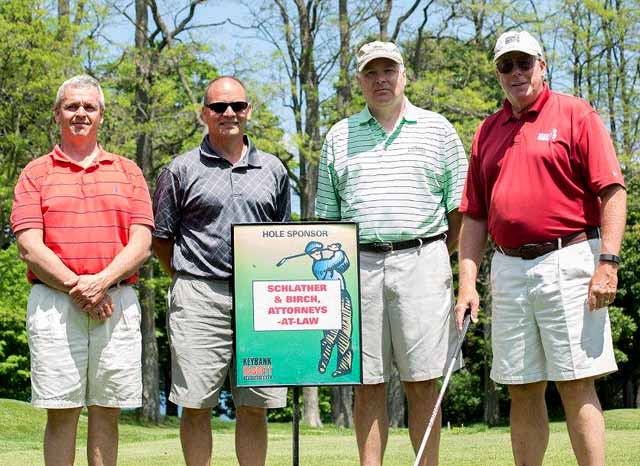 The team of Cooperstown attorneys Schlather & Birch – from left, Dave Elliot, Rodney Campbell, Joe Spytko and Bob Schlather –won Bassett Hospital's 19th annual invitational May 31 at The Otesaga's Leatherstocking Golf Course. The event raised $90,000 for the Friends of Bassett's annual fund, the Friends announced today.