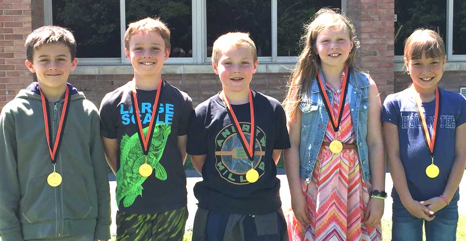 Good Sportsmanship winners for the first annual Kathleen Galland-Bennett Third-Grade Track Meet are, from left, Shane Bradley, Paul Crowell, Andrew Miller, Claire Kapusniak and Mia Kaltenbach. (Caroline van der Riet is not pictured.) These students were chosen by their peers for demonstrating outstanding sportsmanship at the event, Thursday, June 8, at Cooperstown Elementary.