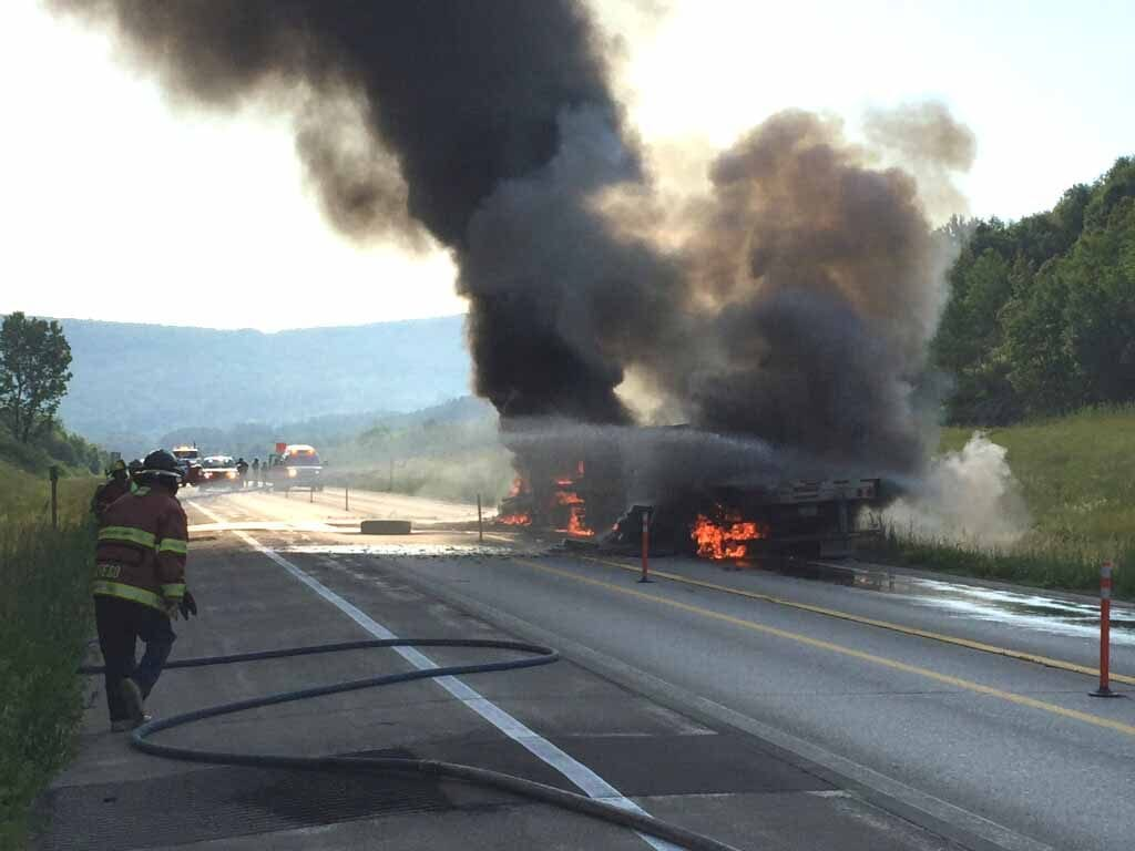 A tractor trailer caught on fire after an accident between I-88 Exits 12/13 in Oneonta.