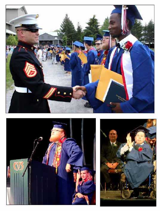 At the CV-S commencement today at the Glimmerglass Festival, Marine Staff Sgt. Ty Mulcahey congratulates graduate Will Murnion, who is entering the Marines in nine days.  Lower right, Valedictorian Zachariah O'Connor addresses attendees and his classmates.  Lower right, Johnathan Riavez applauds his fellow seniors after receiving his diploma.  (Jim Kevlin/AllOTSEGO.com)
