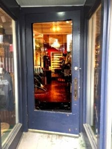 Cooperstown Bat Co.'s Chris Miller found the door smashed at 118 Main when he arrived at work yesterday, and a rampaging deer inside. (Chris Miller photo)