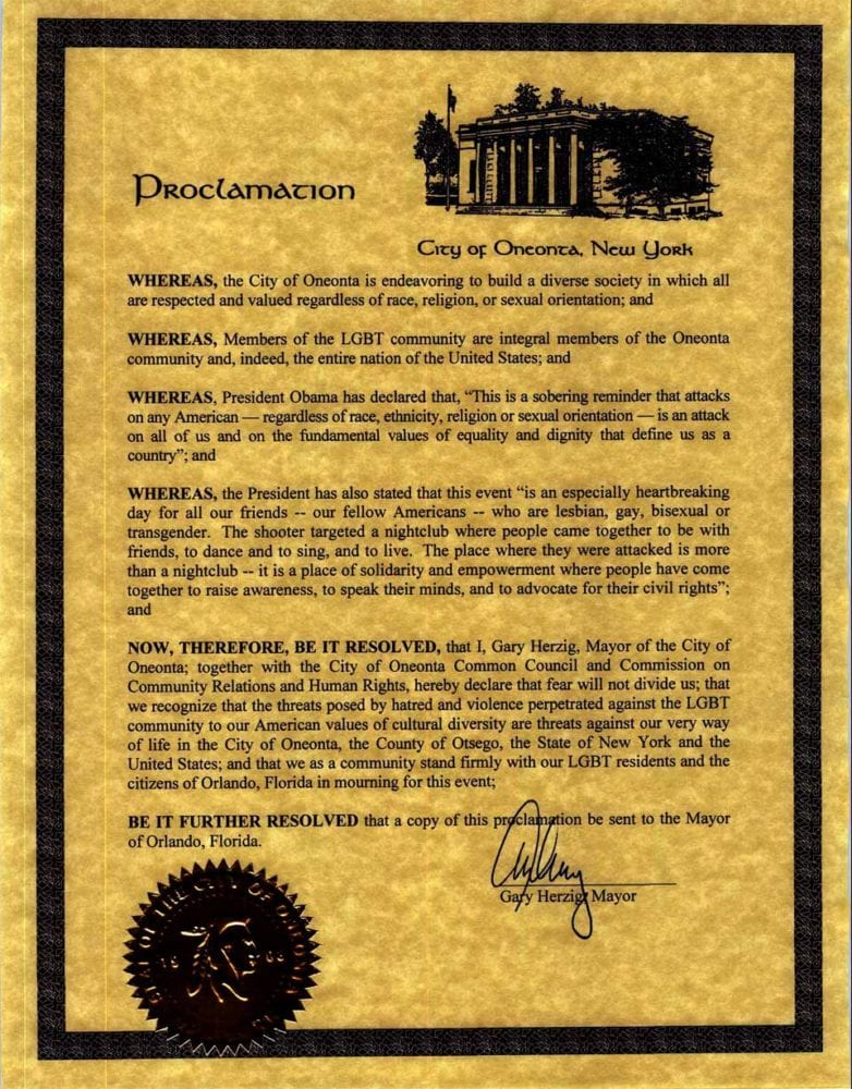 Oneonta Mayor Gary Herzing,in conjunction with the Common Council and the Commission on Community Relations&Human Rights, todayissuedaproclamation decryingthe mass shootingin Orlando, Fla., on Sunday, June 12, and declaring solidarity with LGBTcommunities in Oneonta and Orlando.