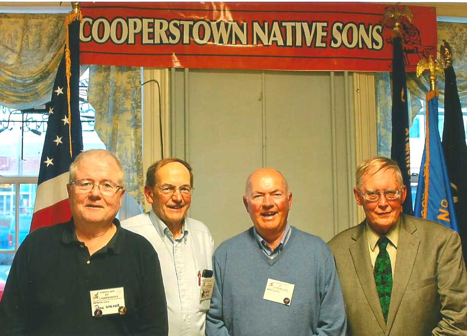 "Warren Bunn was elected president, and his brother Wayne vice president, of the Native Sons of Cooperstown at the organization's annual meeting and dinner Saturday, June 11, at the Vets' Club.  From left are Doug Walker, nominations; Wayne, Warren and Al Bullard, author of ""The Hop Farmer's Year,"" who spoke on hops in Otsego County.  Terry Bliss, secretary/treasurer, was absent hiking the Pacific Trail.  67 Native Sons, who have been meeting since 1933, attended.  The Ladies Auxiliary of the Cooperstown VFW prepared the dinner."