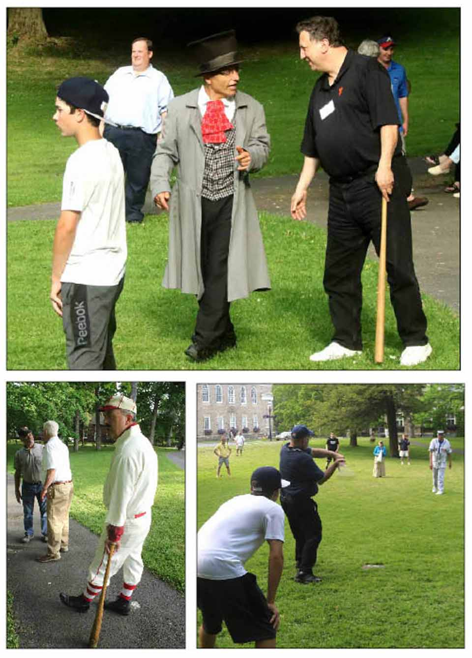 """The 28th Cooperstown Symposium on Baseball & American Culture is underway at the Hall of Fame, and participants are engaging at this hour in the annual game of """"Town Ball,"""" an archaic form of the National Game, in Cooper Park. At top is Peter Young, the 19th-century-style umpire, (and Cooperstown native – his mom, Pat is a volunteer at The Farmers' Museum – and currently a math professor at St. Rose College in Albany). Below left is Tim Wiles, former of Hall of Fame director of research, who took in a few innings; he'll be Casey at the Bat at this evening's symposium banquet. Below right, Bill Simons, SUNY Oneonta history professor and longtime symposium participant, cranks a single toward the James Fenimore Cooper statue. (Jim Kevlin/AllOTSEGO.com)"""