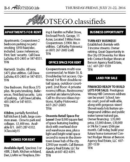 Classifieds for web - July 22, 2016