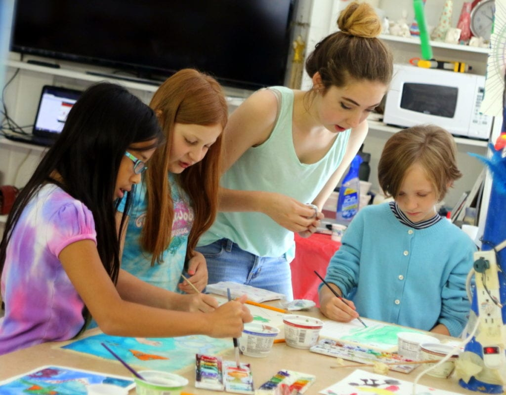 On left, Ava Crowningshield, Oneonta, Tiffany Gardner, Oneonta, and Lucy Hartill, Oneonta, right, get some watercolor instruction from CDO Workforce student Alyssa Schmidt, Laurens, center, at a water coloring workshop at the Carriage House. The event is part of the Carriage House's summer Art Camp, where children can learn and explore a variety of art projects, with a new theme every week! Pottery, origami, sand castles, and kite making are just a few of the many things offered. The camp runs Monday thru Friday from 9am-1pm until September 2nd. Cost is $30/day, or $225/ 2 weeks. Walk-ins are welcome For a complete list of upcoming events, or to pre-register for classes, visit carriagehouseartstudio.com/summer-art-program/ (Ian Austin/AllOTSEGO.com)