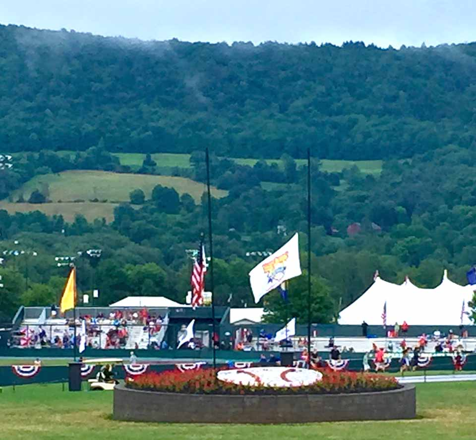 Cooperstown Dreams Park's many flags are flying at half-staff after its founder, Lou Presutti II, passed away last Wednesday. Calling hours are 4-7 p.m. today at the Guenther Funeral Home, Olean, with a funeral mass at 10 a.m. Monday at St. John's Catholic Church, Olean. (Tara Barnwell/AllOTSEGO.com)