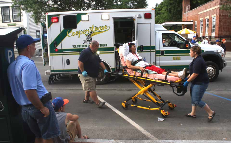 Cooperstown police and the emergency squad were called to the Baseball Hall of Fame at 7 p.m. Sunday after two visitors collided, fell and sustained cuts and bruises.  They were taken to Bassett Hospital's emergency room for treatment.  (AllOTSEGO.com)