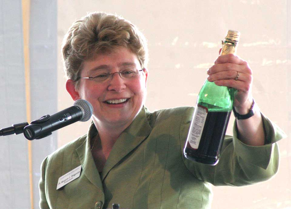 "On May 10, 2013, Hartwick President Margaret L. Drugovich toasted the college's ambitions: to raise $32 million. It's time to break out another bottle of Welch's grape juice: The ""It's Personal"" Campaign has surpassed its goal by $2.7 million. (The Welch's was appropriate: Drugovich's family grew grapes for the company on its Ohio farm). (AllOTSEGO.com)"