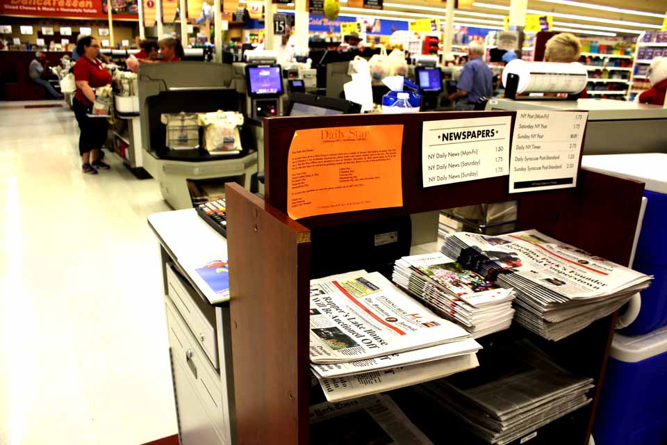... the newspaper rack at the Cooperstown Price Chopper has been moved.  It is now between the self-service checkout line and the customer service desk.  This week's Freeman's Journal is now available there.  (AllOTSEGO.com photo)
