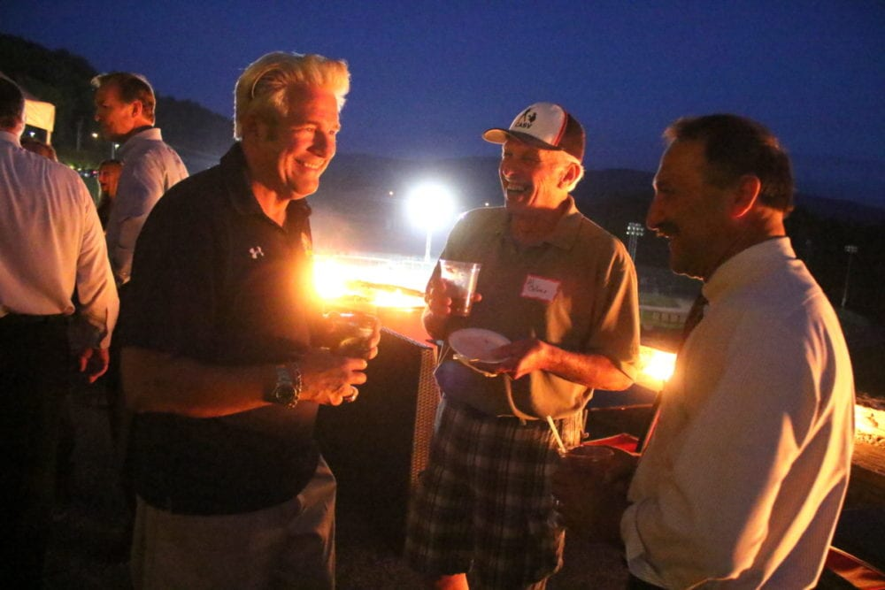 Martin Patton, owner of Cooperstown All Star Village, enjoys conversation with Al Colone and John Salka, who is running against Bil McGee for Assemblyman of the 121st district. Salka appeared as part of a Meet the Candidates event hosted by the All Star Village, where area residents could enjoy food, conversation and fireworks with the nominees. Also in attendance was Randy Mowers, who is running for Town Council against Michael Stolzer. John Faso, who is running for congress against Zephyr Teachout, was unable to attend the event, but was in town earlier where he received the endorsement from the National Federation of Independent Businesses. (Ian Austin/AllOTSEGO.com)