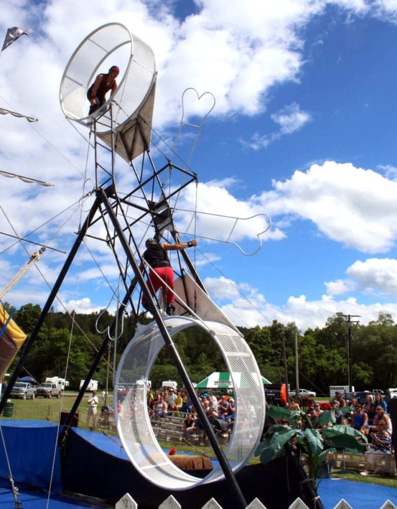 If you are looking for a new attraction at the Otsego County Fair this year, look no further than The Sensational Murcias present The Pirates of the Colombian Caribbean. This swashbuckling high wire show will be wowing fair goes for free during the whole week. Hailing from Colombia, Walter Murcias, sons Alexander and Andreas, and wife Victoria, star as a band of misfits who volley for possession of a treasure map while preforming death-defying aerial acts for your viewing pleasure!(Ian Austin/AllOTSEGO.com)