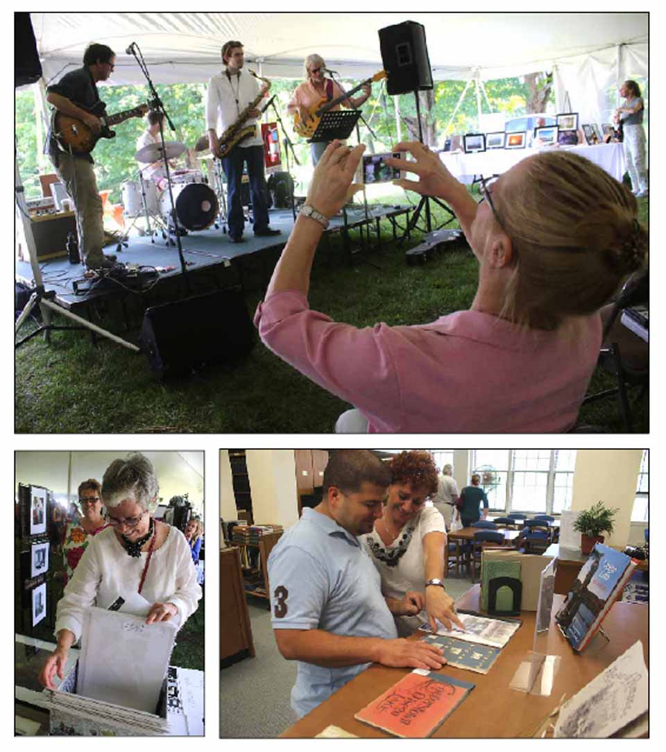 The environs of The Fenimore Art Museum is a busy place at this hour for Art by The Lake, an annual exhibit of plein air painting on the lawn behind the museum. Also featured is fine food, music – in top photo, Barbara Nark of Oneonta snaps an image of Sam Weedon & Friends – as well as art on display, and painting for kids.  Lower left, Maureen Murray of Cooperstown examines the offerings.  The NYSHA Library is also open, an added attraction that drew, lower right, Hernan Alvero and Jane Keane of Cooperstown.  The activities continue until 5 p.m. (Jim Kevlin/AllOTSEGO.com)