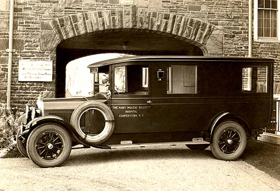 "This 1927 ambulance is one of 350 photos Dr. John Davis plans to include in his ""Bassett Hospital in Cooperstown: 200 Years of Healthcare in Rural America,"" due for publication in the spring."