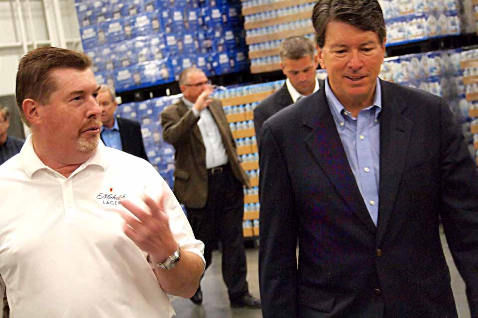 Northern Eagle Beverages President George Allen, left, gives Republican congressional candidate John Faso a tour of the company's new plant (and future brewery) on Browne Street, Oneonta, Thursday.  The candidate, who is running against Democrat Zephyr Teachout to succeed retiring U.S. Rep. Chris Gibson, R-19, was in the Oneonta area to receive the endorsement of the National Federation of Independent Businesses
