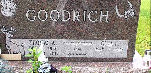 This facebook posting shows damage to the Goodrich family memorial at Evergreen Cemetery, Unadilla.