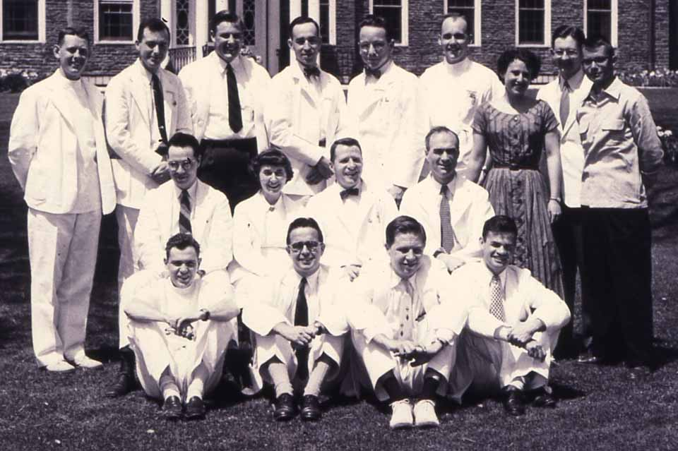 Dr. Henderson, front row (in white shoes), was a member of Bassett intern class of 1954-55. (Photo courtesy of Dr. Davis)