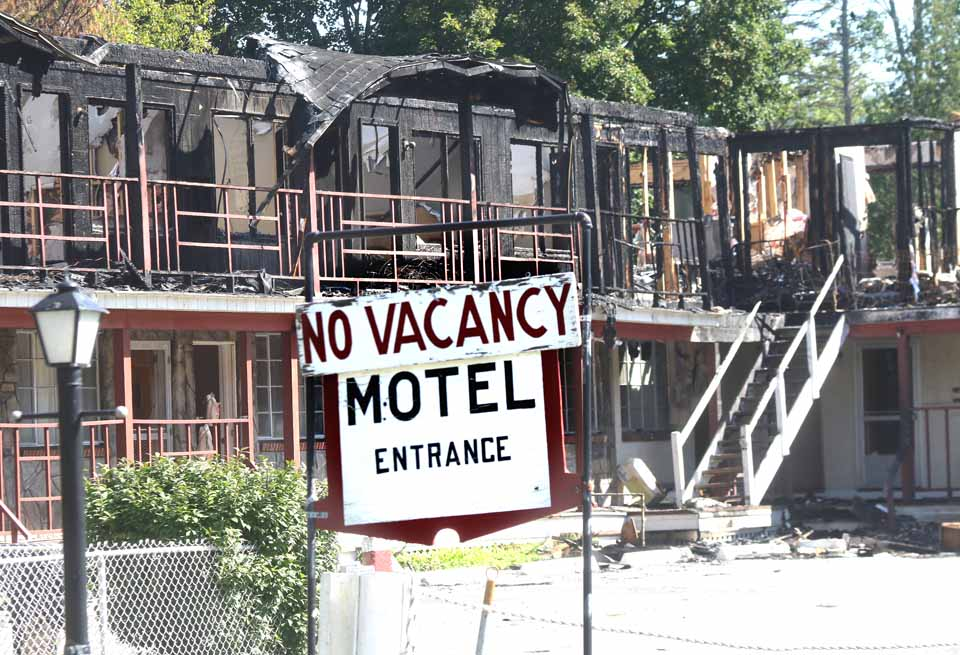 No vacancy?  All the rooms at the Cooperstown Motel have been vacant, certainly since it was gutted in the Aug. 9 fire.  (Jim Kevlin/AllOTSEGO.com)