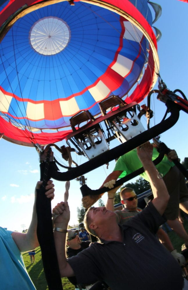 The 2016 Susquehanna Balloon Fest is here! Friday night marked the first evenings of festivities with food, music, and of course hot air balloon launches! Here, Alan Jones gives his balloon a final burn of hot air before lifting off with Kyle Crave, Waterville, and Paul Kilgore, Evans Mill. The festival runs from 5-9pm on Saturday with fun and activities for the whole family. This even is free and open to the public. For more info and bookings, visit www.balloonny.com (Ian Austin/AllOTSEGO.com)