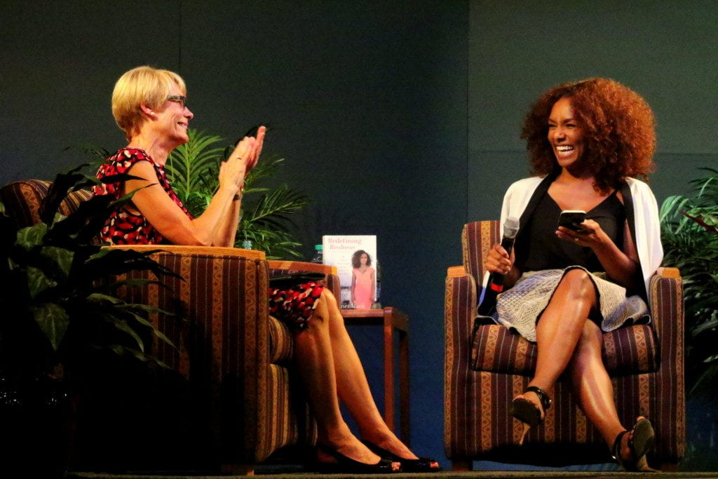 "SUNY Oneonta President Nancy Kleniewski chats with transgender activist Janet Mock, author of this year's Common Read, ""Redefining Realness"" as part of the Mills Distinguished Lecture. (Ian Austin/AllOTSEGO.com)"