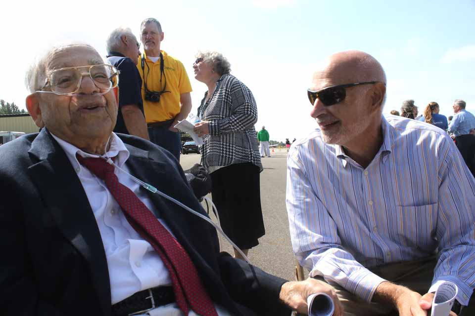 Today's 50th anniversary of the Oneonta Municipal Airport was also Sam Nader Day, a celebration of the former mayor who, almost single-handedly, put together the pieces that made the airport's construction possible. Here, he share a laugh with current Mayor Gary Herzig. (Jim Kevlin/AllOTSEGO.com)