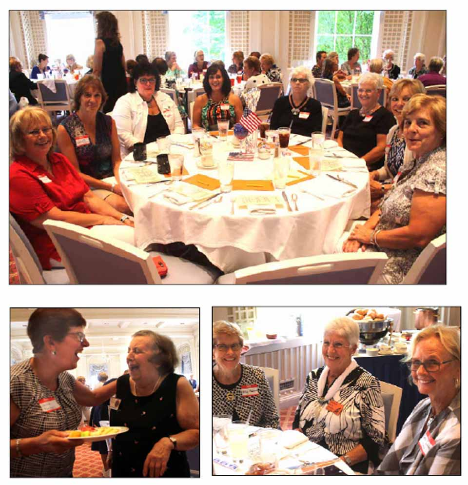In high spirits, 150 of the Native Daughters of Cooperstown gathered today in The Otesaga ballroom for the annual luncheon.  In top photo,  Sue Bennett Fink, third from right, attended with, to her right, sister Barb Dillon and daughters Kelly Banner and Wendy Onyan.  At left are Linda Windsor and Janette Lyons; at right, Judy Smith Motz and Mary Winne.  Lower right, Jackie Bridger Parshall, left, shares a laugh with Barbara Skinnner.  Lower right, Barbara Koniuto, center, the former county GOP chair, chats with Nancy Adams, left, and Carol Hanlon.  Today's speaker was Katie Wick Noakes, CCS Class of '64, who shared such memories as setting pins at the Clark Gym for $20 a game.  Her dad ran the Charles A. Wick garage on upper Main; her mom, Rtuch, was a teacher.  (Jim Kevlin/AllOTSEGO.com)