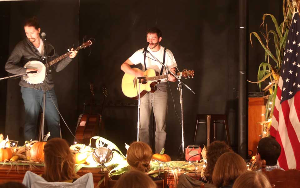 The sounds of Fredenberg Brothers – Sam on banjo, Dave on guitar – was heard this evening at the Pierstown Grange Musical Festival, signalling the end of a busy summer. (Jim Kevlin/AllOTSEGO.com)
